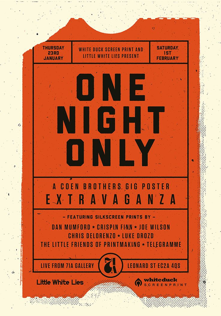 One Night Only: A Coen Brothers Gig Poster Extravanganza ...