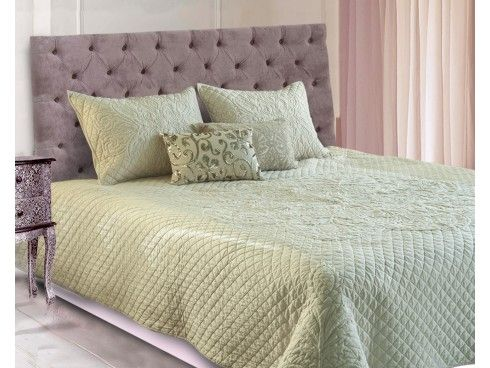 Trapunto Embroidered Cream Coloured Machine Quilted Cotton Bedspread