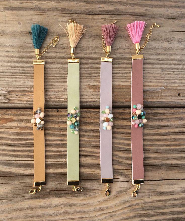 pastel leather bracelets