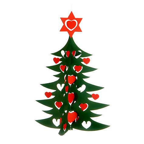 Buy Livingly Hanging Paper Christmas Tree With Red Hearts, Medium Online at johnlewis.com