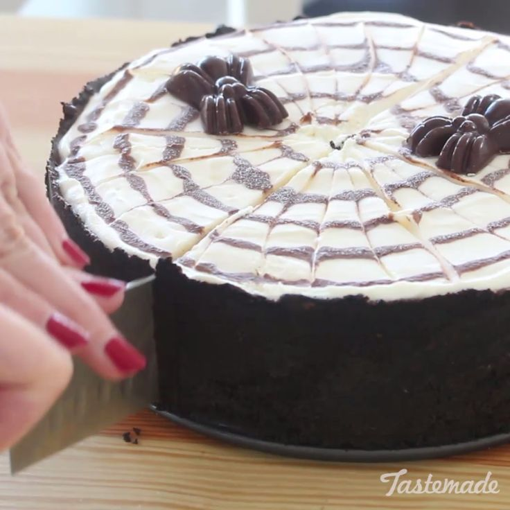 No need to bake or worry about this eerie cheesecake — the spiders are made of chocolate!