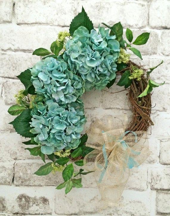 Hydrangea Wreath, Front Door Wreath, Spring Wreath, Spring Door Wreath, Grapevine Wreath, Outdoor Wreath, Silk Floral Wreath, Summer Wreath