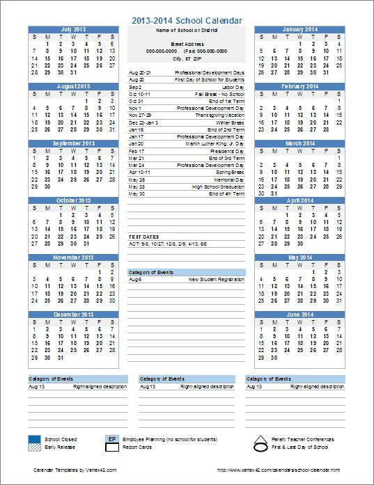 This Template Is Useful For Creating Official School Calendars.