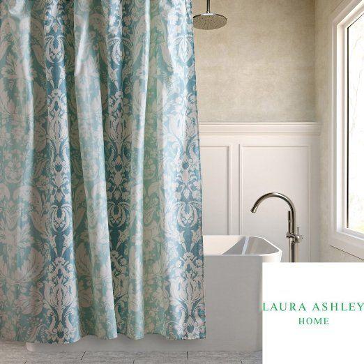 Laura Ashley Connemara Aqua Blue & White Ombre Damask Fabric Shower ...