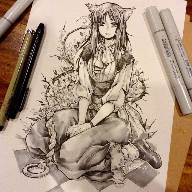 Just finished Horo. Spice and Wolf Commission. 2 more to go!! This is for Bobby btw~ Might add grayscale copic commission this month >_> hmm... #horo #spiceandwolf