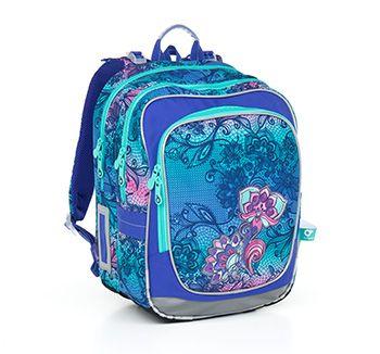 Kwiaty, kwiaty! Naszywane na plecaku CHI 786 I - Violet pobudzą, niczym wiosna. Plecak dla dziewczynek od 1 do 3 klasy.