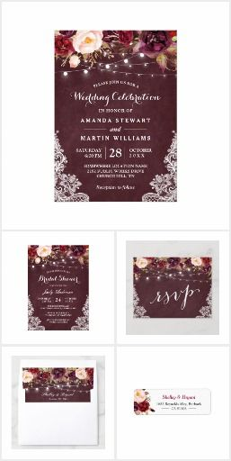 ad0d5b2fca7 Marsala Floral String Lights Lace Invitation Suite A Marsala Flowers String  Lights Lace Invitation Suite