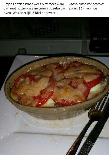 Spinazie tomaten schoteltje