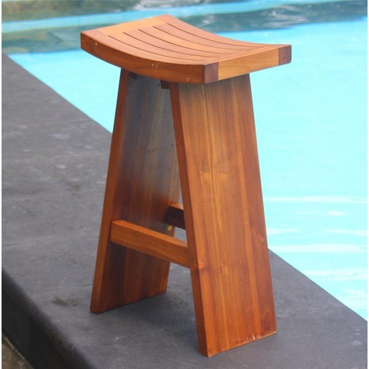 Asian teak bar stool