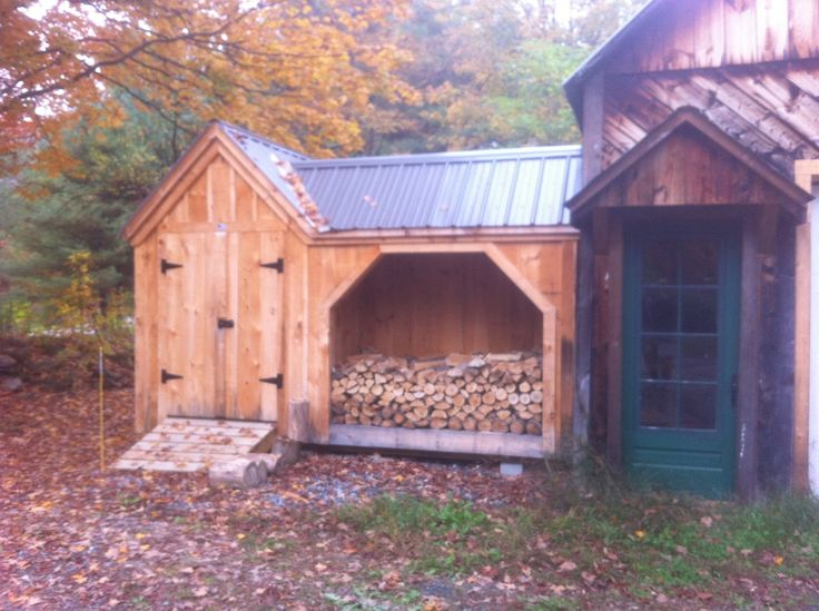 Our vermont gem a shed with firewood storage holds 2 for Garden shed sizes