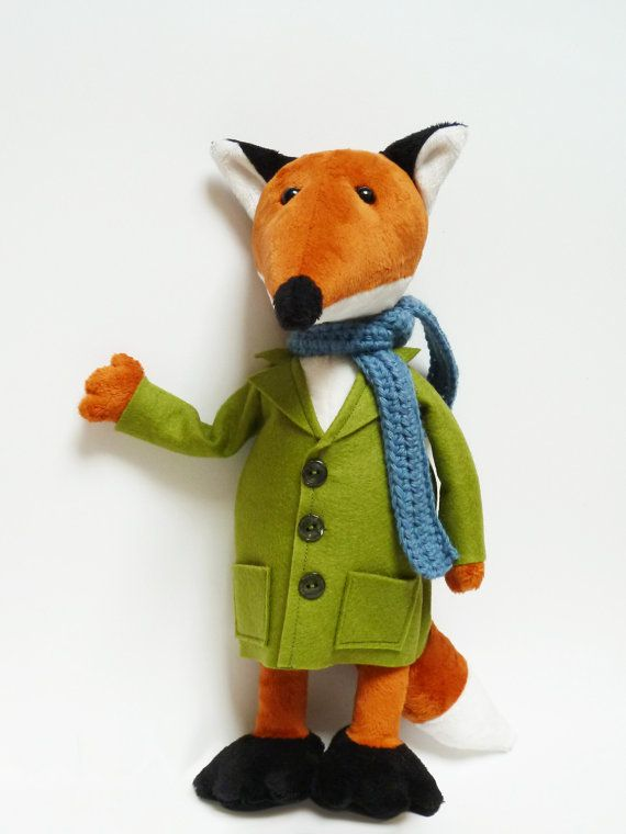 Mister Fox - Woodland Softie - The sophisticated Plush Fox - Soft Sculpture - Stuffed Animal