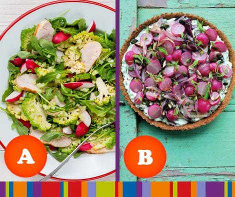 Voor welk gerecht zou jij gaan? A. Salade met gerookte kalkoen en radijs of B. Hartige taart met geroosterde radijsjes?