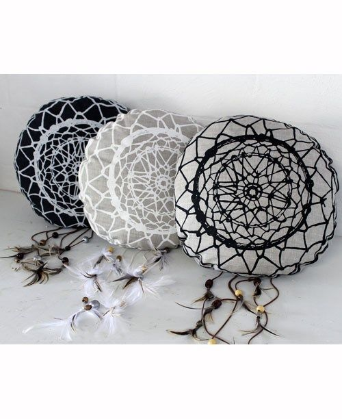 Dream Catcher Cushion - Natural with Black by Tom & Peggy