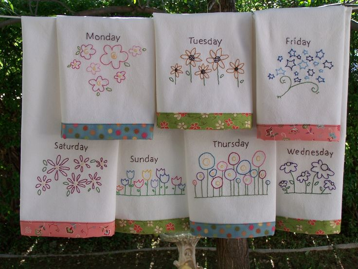 Superb Embroidery Pattern For 7 Flower Tea Towels, One For Each Day Of The Week.  Different Flower Patterns  Hand Embroidery  Can Be Done As Red Work Part 4