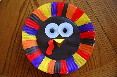 """Paper Plate Turkey Craft to go along with book """"A Plump and Perky Turkey"""""""