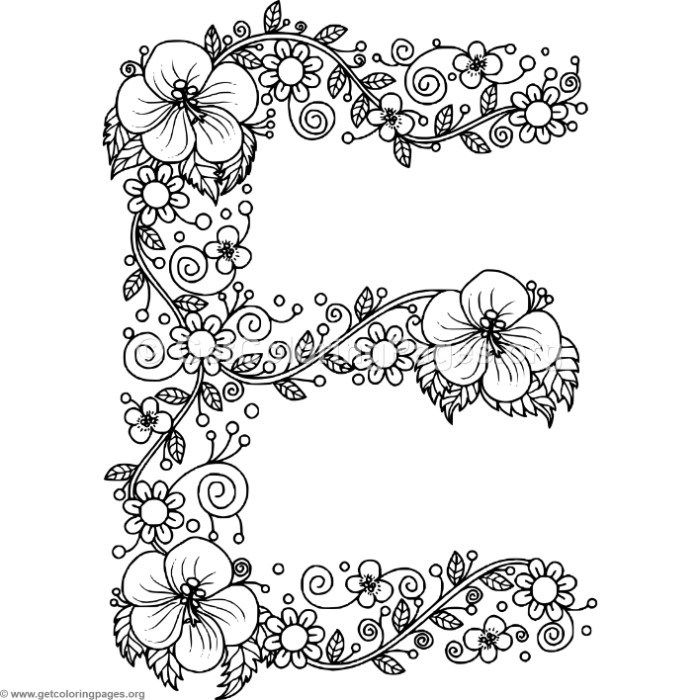 Free Instant Download Floral Alphabet Letter E Coloring Pages
