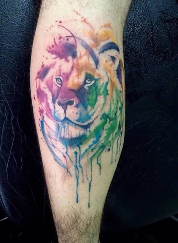 Amazing Tiger Watercolor Tattoo On Calf