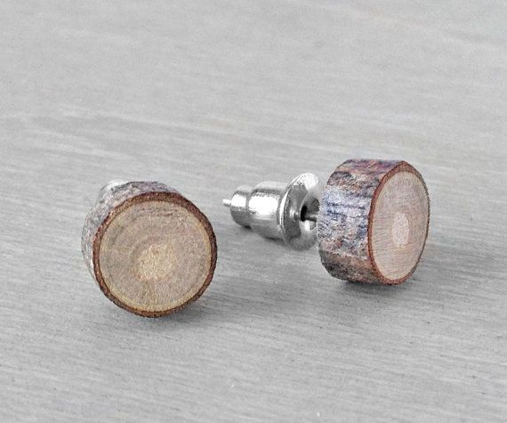 Wood Stud Earrings  Small Natural Wooden Earrings by OneUrbanTribe