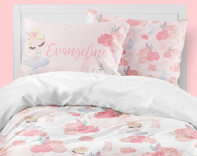 Super Sweet Ballerina Bedding Set For A Girls Room Perfect Toddler Bedding With Personalized Pillowcase Kids Bedding Sets Toddler Bed Set Kid Beds