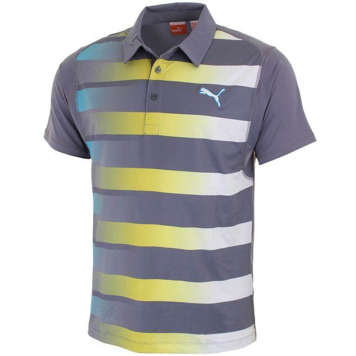 Puma Golf 2015 Mens GT Raglan Graphic Golf Polo Shirt - White/Folkstone Gray XXL