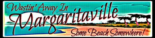 """Handmade Tiki Bar Margaritaville Sign Some Beach Street Sign 3""""x12"""" Made In Hawaii USA All Weather Metal. Perfect For Your Man Cave Lounge Beer Pool Hot Tub Happy Hour Island D茅cor"""