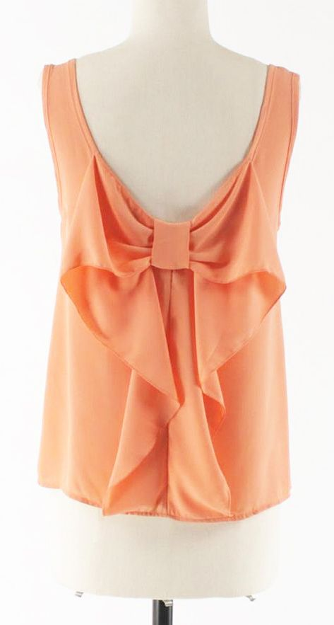 Bow Back Top in Coral / Peach