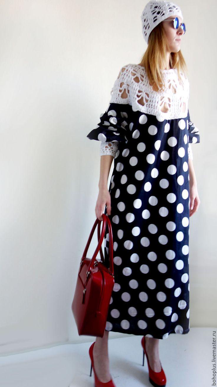 """Купить Платье в стиле бохо шик """" Милые дни 6"""" - чёрно-белый, в горошек"""