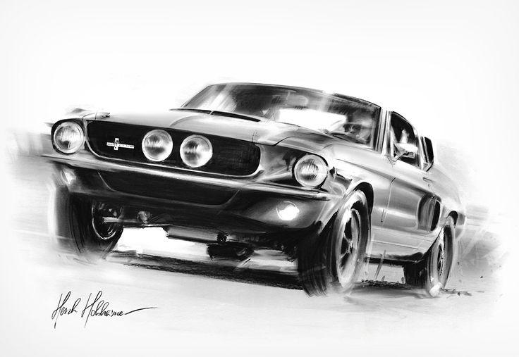 Amazing Charcoal Powered Racers Automotive Art Mustang