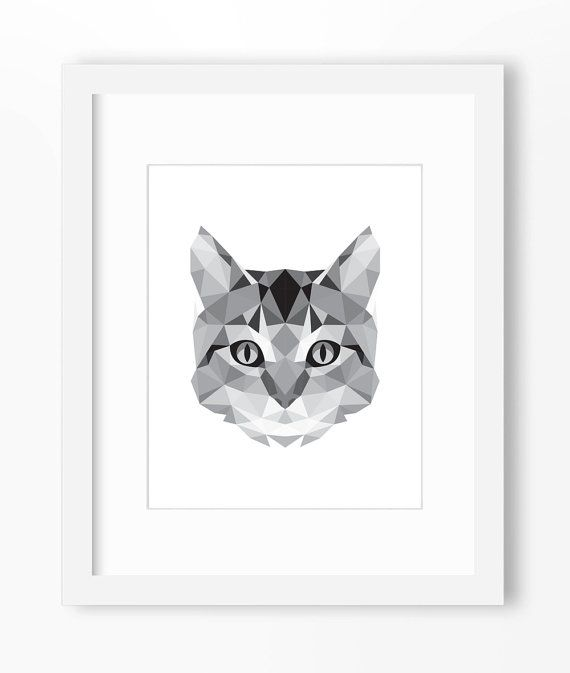 Chat reproduction, Art de chat, Art mural chat, chat graphique Print, imprimé mural chat, Origami chat reproduction, visage chat, chat géométrique Art, Triangle d