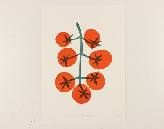 NEW A3 Vine Tomatoes Linocut print by ClaireSpencerShop on Etsy
