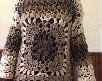 Vintage 1970s Crochet Pattern Maxi Caftan Dress Tunic Boho