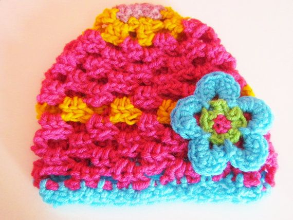 Crocheted beanie, neon colors, unique and colorful hat on Etsy, $12.00