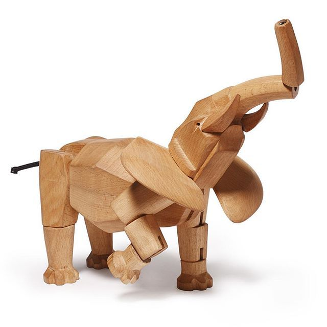#NewYork based #Sculptor #DavidWeeks is known for creating #wooden toys and collectables that charm the young and old alike.  #Hattie the #elephant is named after a real elephant that lived in Central Park Zoo.  Like the other wooden #animals in Weeks' range, she is fully posable thanks to clever construction and rubber band ligaments.  You can make her dance, run, sit or even do a handstand.  Made from sustainable #beechwood.  Available from @areaware.