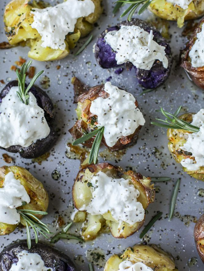 Recipe for crispy buttered rosemary smashed potatoes with burrata I ...