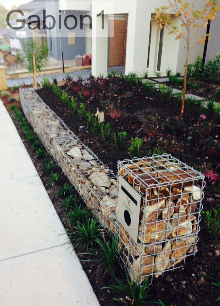 small gabion retaining wall and letterbox http www
