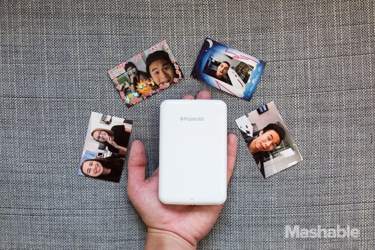 Portable sticker pic printer    The $129 Polaroid Zip Instant Photoprinter is a pocket digital printer that prints up sticker pics from your smartphone or tablet. It's possibly Polaroid's most exciting product in years. Image: Mashable, Miles Goscha