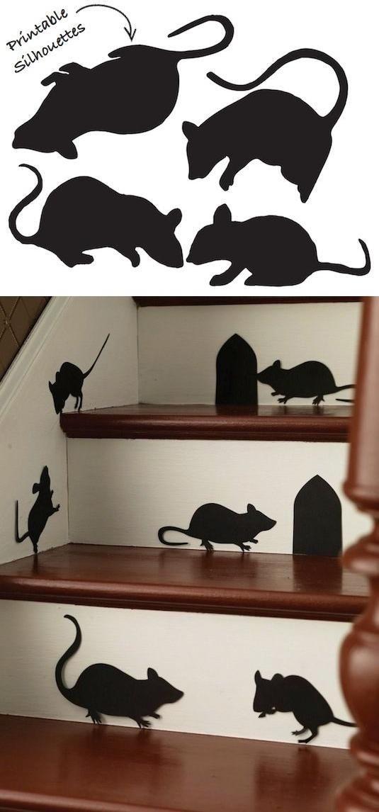 halloween deko idee schwarze mäuse treppen