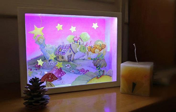 Flower Fairy and friend - Diorama in a box with cutout paper figures and led strip light | Children room | Fairy tale by boxdiorama on Etsy