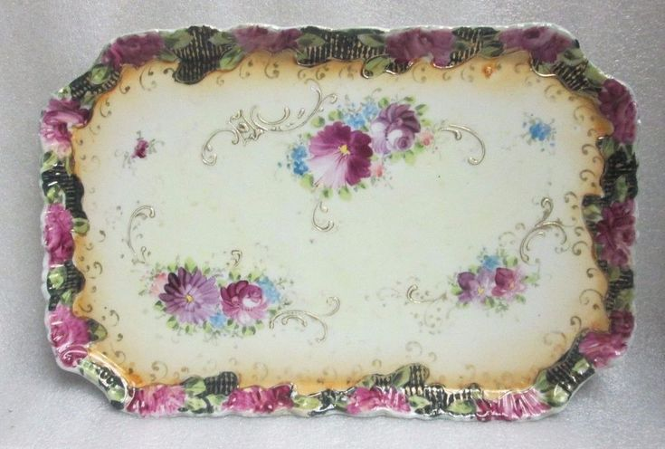 Antique Pre NIPPON HAND PAINTED Flowers Raised Gold Vanity Dressing Table Tray #Unknown #Rococo