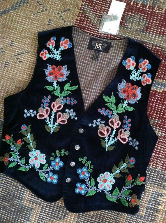 RRL RALPH LAUREN Beaded Vest Velvet Indian by STONEHEARTSVINTAGE
