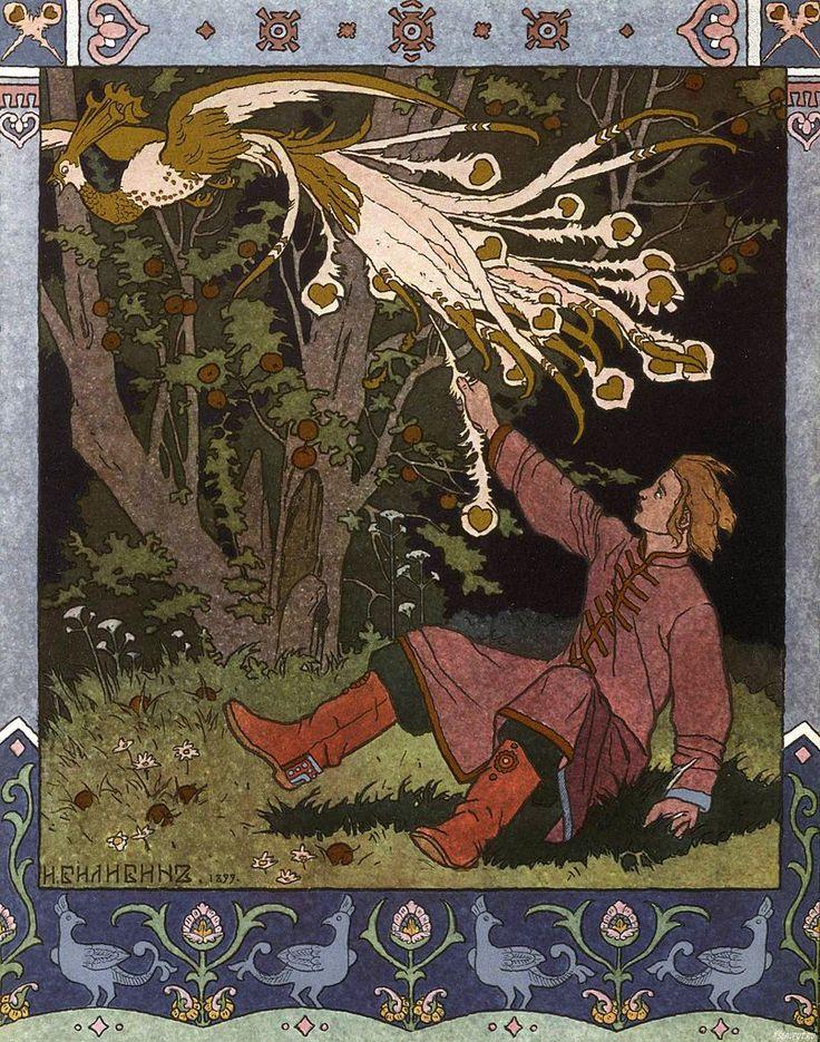 イワン・ビリービン Ivan Bilibin_Билибин イワン王子と火の鳥と灰色オオカミ_Prince Ivan, The Firebird and the Grey Wolf_02