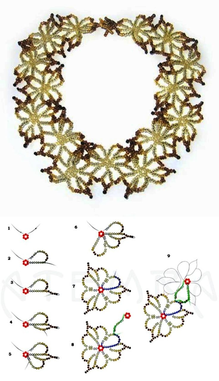 Free pattern for necklace Fleur 11/0
