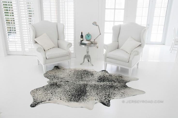 Jersey Road - Salt & Pepper Cowhide Rug $329 www.JerseyRoad.com 100% top quality Brazilian cowhide rug. FREE SHIPPING USA & Canada wide.   Tags: #cowhide #cowrug #rug #leather #beautifulroom #dreamroom #bedroom #jerseyroadco #whiteonwhite #whiteroom #blackandwhite #livingroom #grayrug #decor