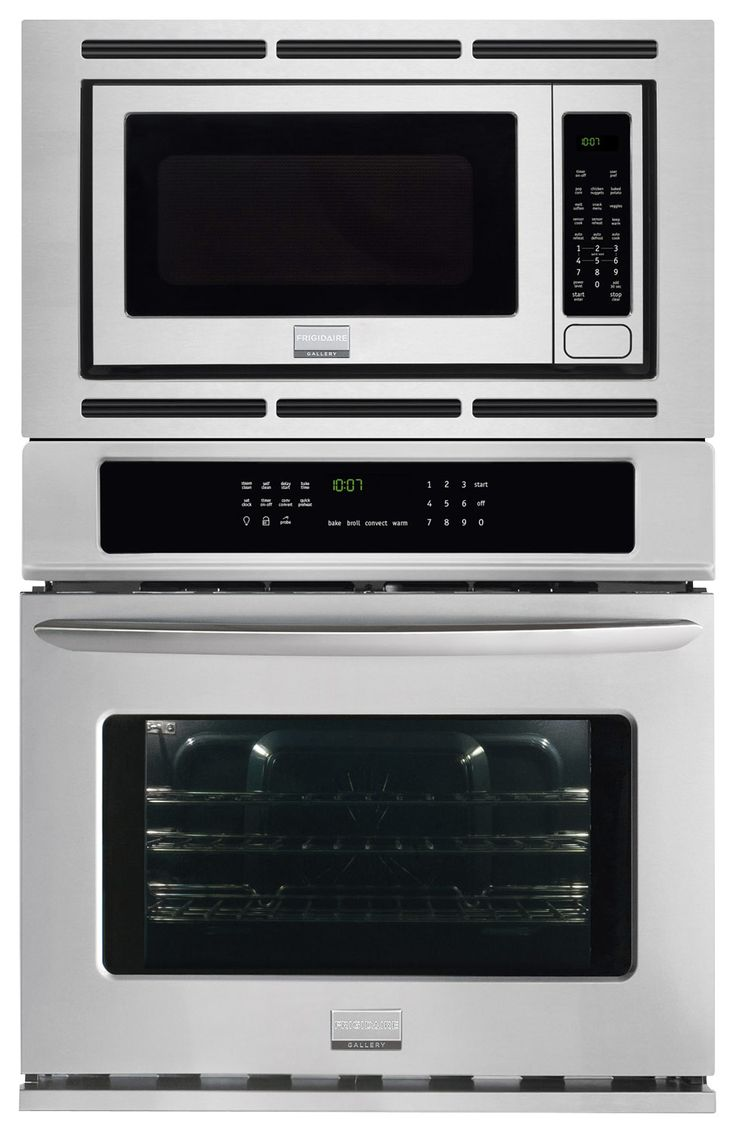 """Frigidaire - Gallery 27"""" Single Electric Convection Wall Oven with Built-In Microwave - Stainless Steel - Larger Front"""