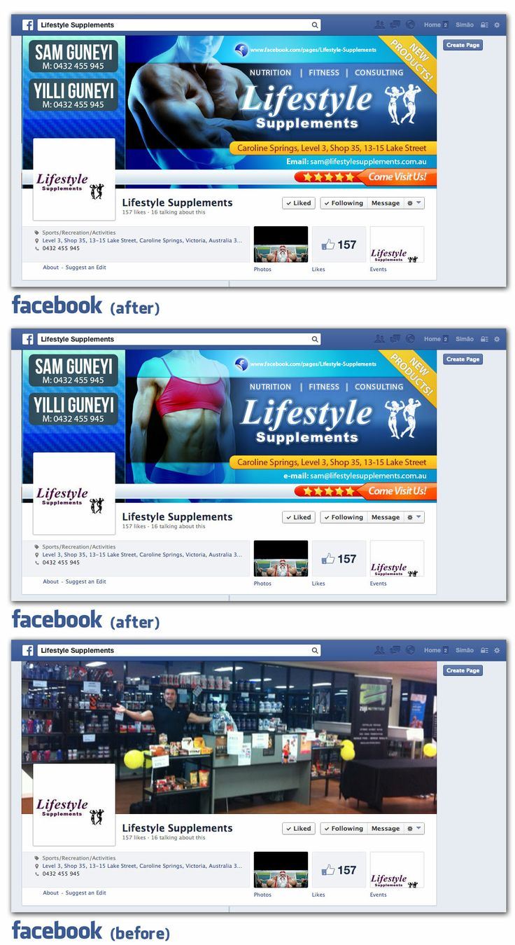 """Lifestyle Supplements needs an online presence on Facebook to match the quality of their services, targeting their client base was fundamental and conveying their expertise in the area was achieved through a """"face"""" to show for. #socialmedia #beforeandafter #makeover #globalsocialmediacoaching #graphics #graphicdesign"""
