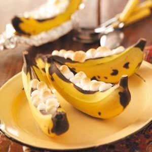 banana boats on the grill or camp fire: Banana + chocolate chips + marshmallows