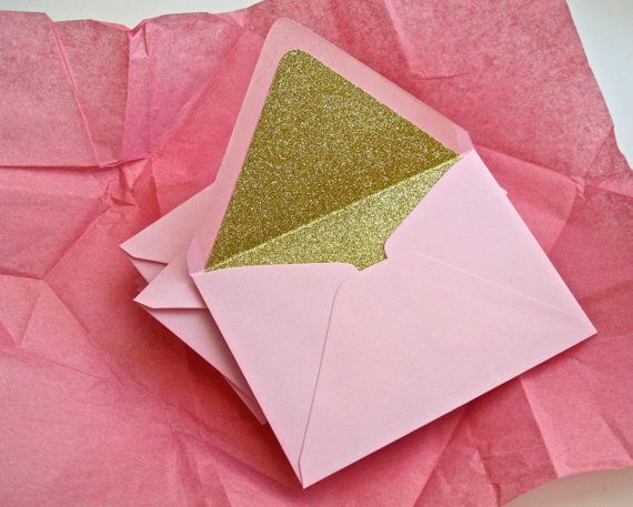 Special Request: 10 Pink Feather envelopes with gold glitter liners via Etsy