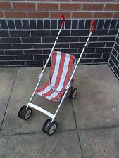 Vintage Retro 70's Toy Pram-Chair Red White Maclaren Play Buggy Doll's Pushchair