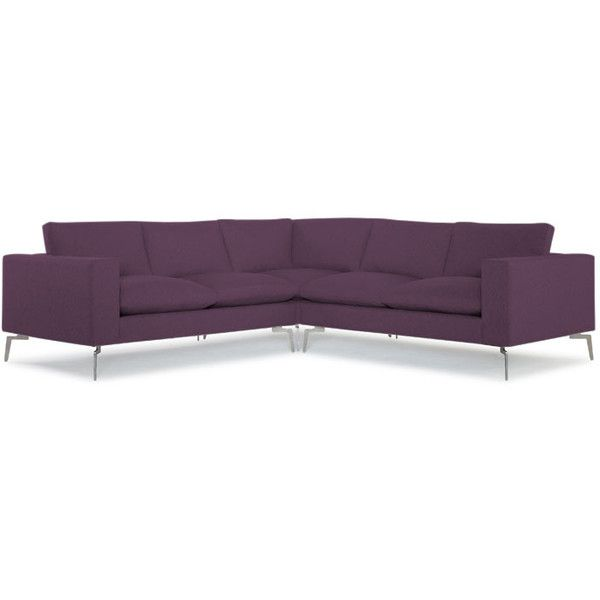 Joybird Lenox Mid Century Modern Purple Corner Sectional (£2,100) ❤ liked on Polyvore featuring home, furniture, sofas, purple, mid century modern sofa, mid century sectional, purple furniture, purple couch and midcentury modern couch