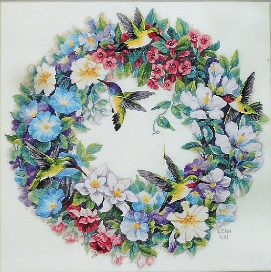 Dimensions The Gold Collection HUMMINGBIRD WREATH Counted Cross Stitch Pattern Chart Kit – By Lena Liu